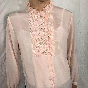Vintage 80s Victorian style Pink Ruffled Blouse